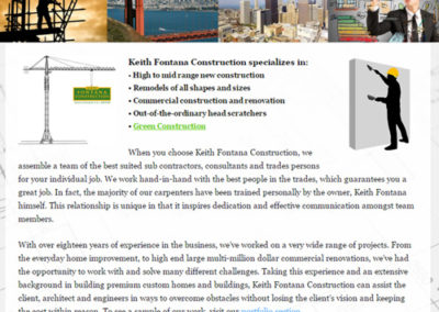 Website Design – Keith Fontana Construction