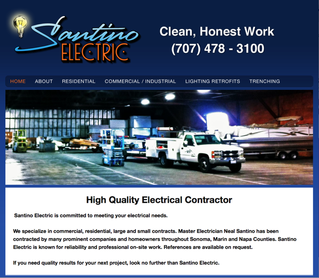 Web Design – Santino Electric